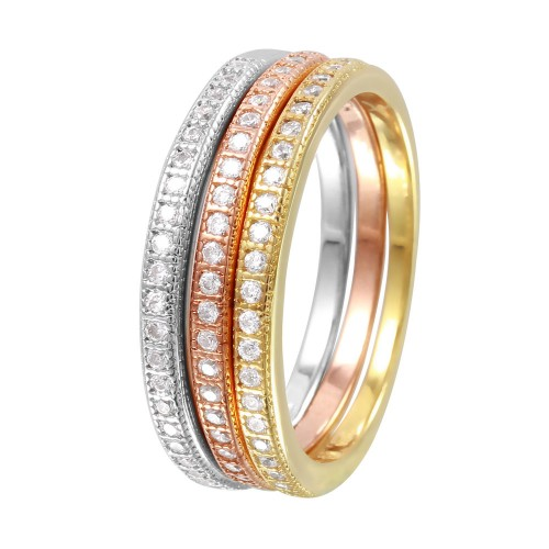 Wholesale Sterling Silver 925 Rhodium Plated Tri Color Stackable Rings - BGR00998