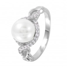 Sterling Silver Rhodium Plated CZ Accented Faux Pearl Ring - BGR01000