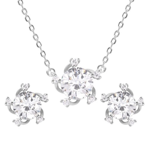 Wholesale Sterling Silver 925 Rhodium Plated Clear CZ Matching Set - BGS00460
