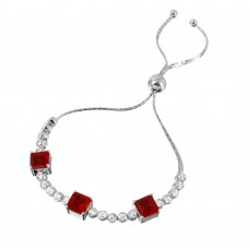 Wholesale Sterling Silver 925 Rhodium Plated Ruby Color CZ Adjustable Bracelet - GMB00019RH-RED
