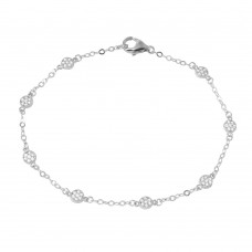 Wholesale Sterling Silver 925 Rhodium Plated Small Round Floral CZ Bracelet - GMB00020