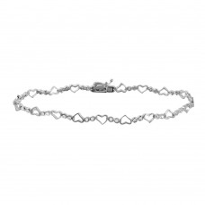 Sterling Silver Rhodium Plated Heart and Circles CZ Accented Bracelet - GMB00022