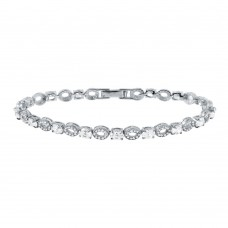 Wholesale Sterling Silver 925 Rhodium Plated Round and CZ Accented Bracelet - GMB00024