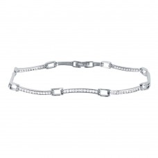 Wholesale Sterling Silver 925 Rhodium Plated Wavy CZ Inlay Bracelet - GMB00025RH