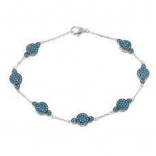 Wholesale Sterling Silver 925 Rhodium Plated Small Round Turquoise Chain Bracelet - GMB00026RH-TUR