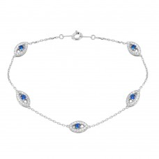 Wholesale Sterling Silver 925 Rhodium Plated Small Round Evil Eye Chain Bracelet - GMB00027RH
