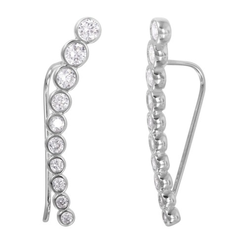 Wholesale Sterling Silver 925 Rhodium Plated CZ Drop Earrings - GME00008