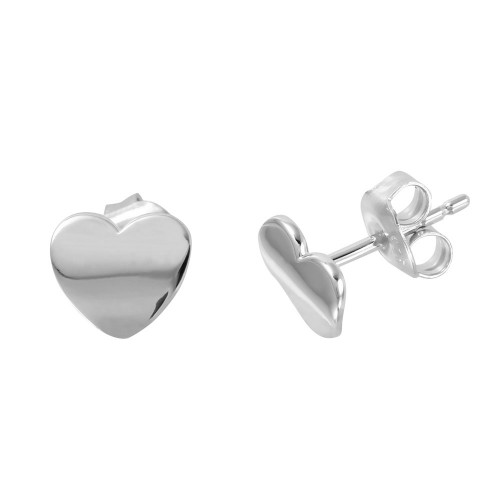 Wholesale Sterling Silver 925 Rhodium Plated Flat Heart Shaped Stud Earrings - GME00015RH