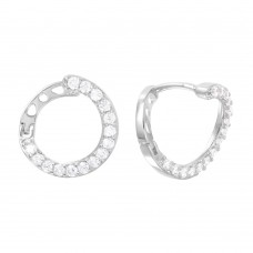 Wholesale Sterling Silver 925 Rhodium Plated CZ Twisted Hoop Earrings - GME00019