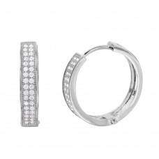 Wholesale Sterling Silver 925 Rhodium Plated CZ Huggie Earrings - GME00023RH