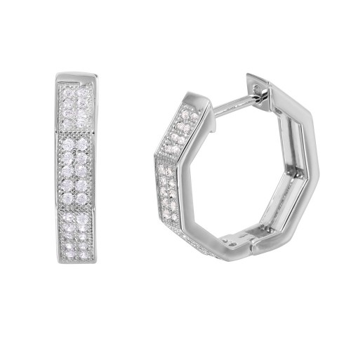 Wholesale Sterling Silver 925 Rhodium Plated Octagon CZ Huggie Earrings - GME00031
