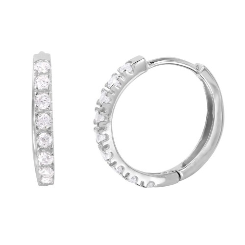 Wholesale Sterling Silver 925 Rhodium Plated Round CZ Huggie Earrings - GME00032