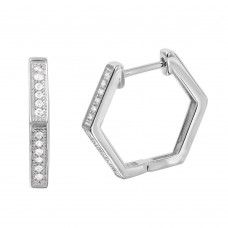 Wholesale Sterling Silver 925 Rhodium Plated Thin Octagon CZ Hoop Earrings - GME00033RH