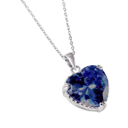 Wholesale Sterling Silver 925 Rhodium Plated Blue Heart CZ Rope Necklace - BGP00729