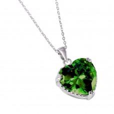 Wholesale Sterling Silver 925 Rhodium Plated Green Heart CZ Rope Necklace - BGP00730