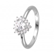 Wholesale Sterling Silver 925 Rhodium Plated Heart CZ Bridal Ring - GMR00058
