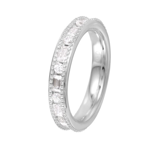 Wholesale Sterling Silver 925 Rhodium Plated Chanel Set CZ Ring - GMR00061