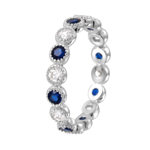 Wholesale Sterling Silver 925 Rhodium Plated Round Eternity Stackable Blue CZ Ring - GMR00064S