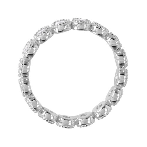 Wholesale Sterling Silver 925 Rhodium Plated Round Eternity Stackable CZ Ring - GMR00064