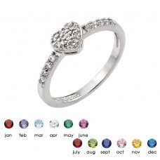 Wholesale Sterling Silver 925 Rhodium Plated Clear Inlay CZ Birthstone Heart Ring - BGR00784