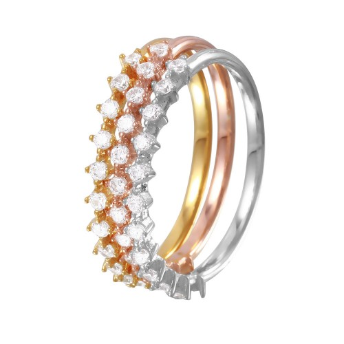Wholesale Sterling Silver 925 Rhodium Plated Tri-Color Stackable CZ Ring - GMR00059TRI