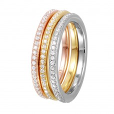 Wholesale Sterling Silver 925 Rhodium Plated Tri-Color Stackable CZ Inlay Ring - GMR00060TRI