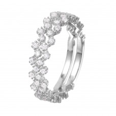 Wholesale Sterling Silver 925 Rhodium Plated Zig-Zag Stackable CZ Ring - GMR00070