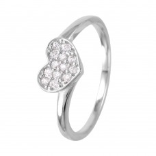 Wholesale Sterling Silver 925 Rhodium Plated Round Band with CZ Heart Ring - GMR00074