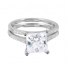 Wholesale Sterling Silver 925 Rhodium Plated CZ Bridal Ring - GMR00077