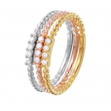 Wholesale Sterling Silver 925 Rhodium Plated Tri-Color Textured Stackable  CZ Inlay Ring - GMR00079TRI