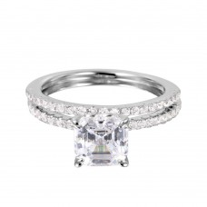 Wholesale Sterling Silver 925 Rhodium Plated Stackable CZ Bridal Ring - GMR00080