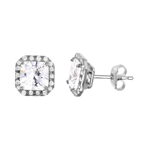Wholesale Sterling Silver 925 Rhodium Plated Square Clear CZ Set - GMS00018RH