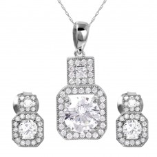 Wholesale Sterling Silver 925 Rhodium Plated Thick Square Clear CZ Set - GMS00019RH