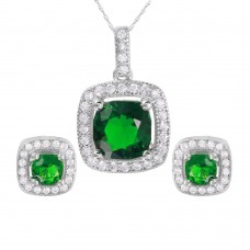 Wholesale Sterling Silver 925 Rhodium Plated Square Green CZ Set - GMS00020RH-MAY