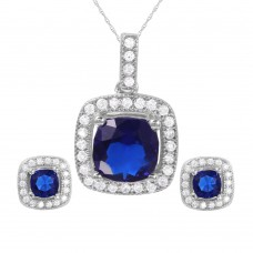 Wholesale Sterling Silver 925 Rhodium Plated Square Blue CZ Set - GMS00020RH-SEP