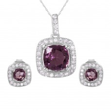 Wholesale Sterling Silver 925 Rhodium Plated Square Purple CZ Set - GMS00020RH-FEB