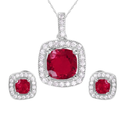 Wholesale Sterling Silver 925 Rhodium Plated Square Red CZ Set - GMS00020RH-JUL