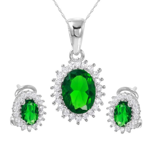 Wholesale Sterling Silver 925 Rhodium Plated Radial Burst Green CZ Set - GMS00021-MAY