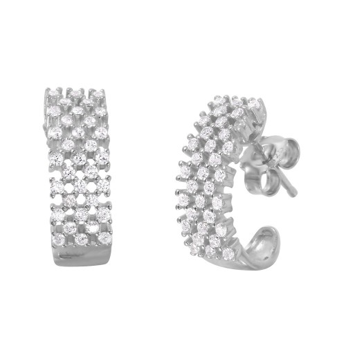 Wholesale Sterling Silver 925 Rhodium Plated Checkered CZ Semi-Huggie Earrings - ACE00082RH