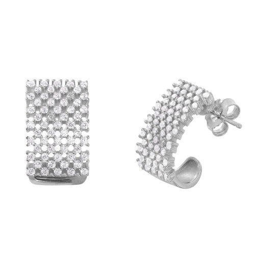Wholesale Sterling Silver 925 Rhodium Plated Thick Checkered CZ Semi-Huggies Earrings - ACE00083RH