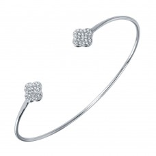 Wholesale Sterling Silver 925 Rhodium Plated CZ Clover Shaped Cuff Bracelet - BGB00238