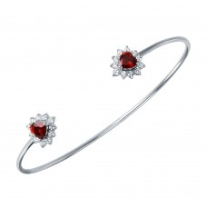 Wholesale Sterling Silver 925 Rhodium Plated Red CZ Hearts Cuff Bracelet - BGB00251