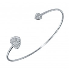 Wholesale Sterling Silver 925 Rhodium Plated CZ Big and Small Hearts Cuff Bracelet - BGB00252
