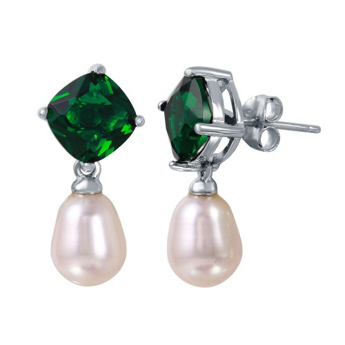 Wholesale Sterling Silver 925 Rhodium Plated Round Green CZ Dangling Fresh Water Pearl Earrings - BGE00448GRN