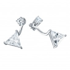 Wholesale Sterling Silver 925 Rhodium Plated CZ Trilliant Earrings - BGE00457