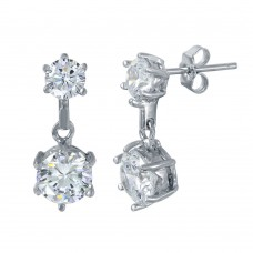 Sterling Silver Rhodium Plated Double Round Clear CZ Earrings BGE00458