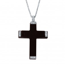 **Closeout** Wholesale Sterling Silver 925 Rhodium Plated CZ Black Wood Pendant Necklace - BGP00102