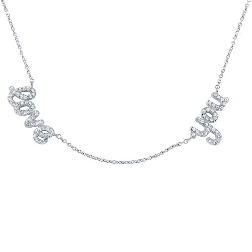 Wholesale Sterling Silver 925 Rhodium Plated 'love you' Pendant Necklace - STP01406