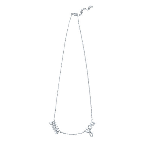 Wholesale Sterling Silver 925 Rhodium Plated 'miss you' Pendant Necklace - STP01407