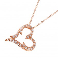Wholesale Sterling Silver 925 Rose Gold Plated CZ Heart Pendant Necklace - BGP00698